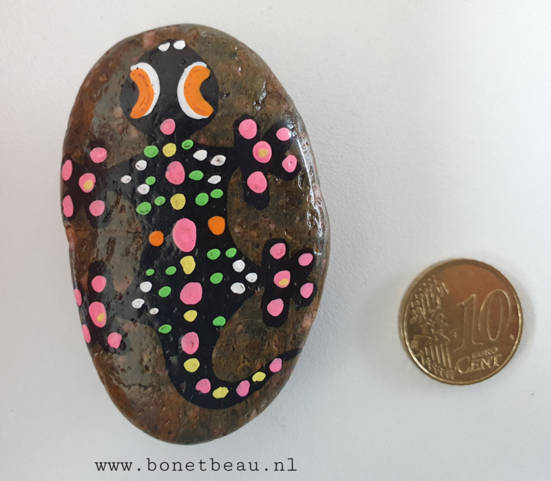 Stenen magneet Gekko rose-groen