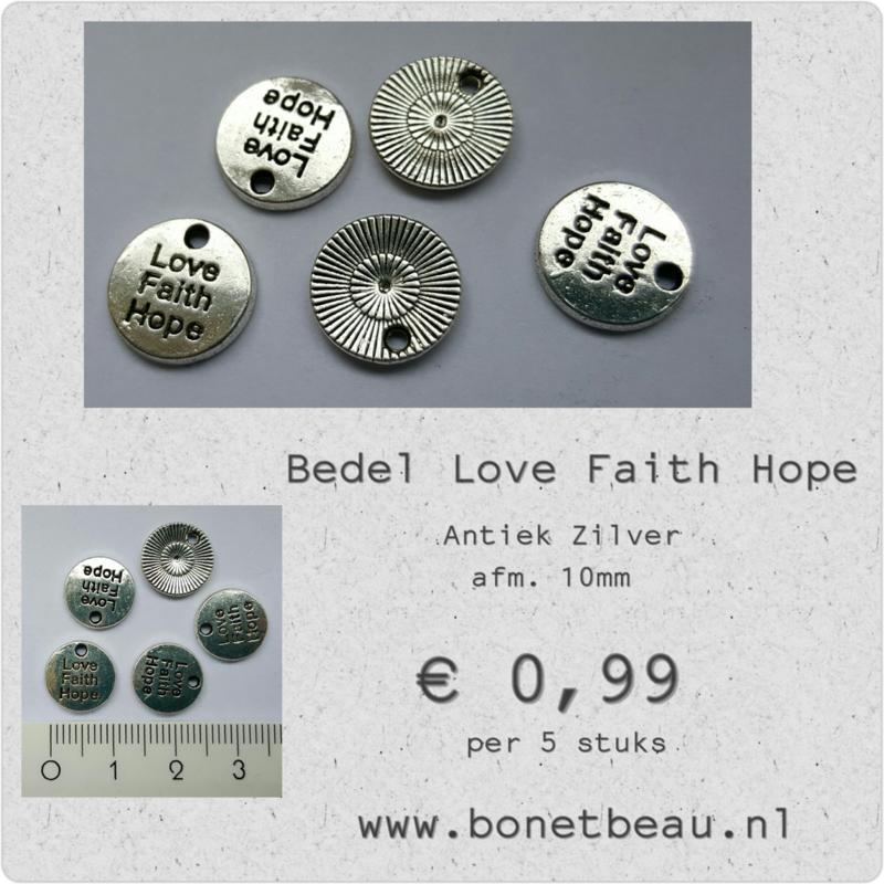 Bedel Love Faith Hope per 5 stuks
