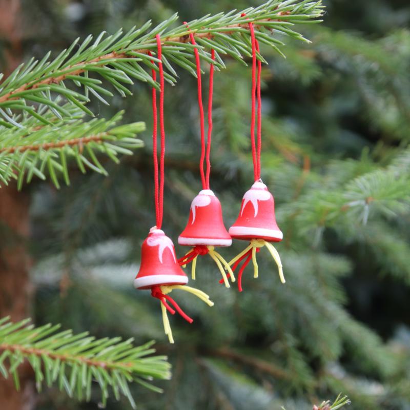 Gelukspoppetje Kerstbel rood/wit per 3 stuks