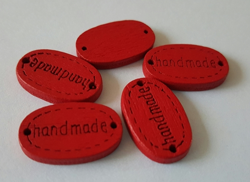 """Houten label """"Handmade"""" rood per 5 suks"""