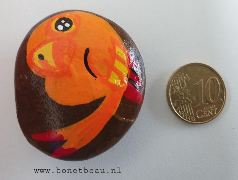 Stenen magneet vogel Oranje