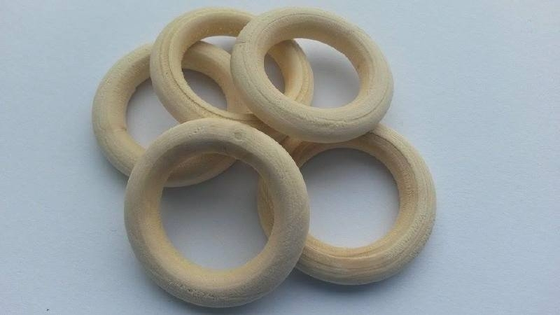 Houten ring ca. 3,4cm per 5 stuks