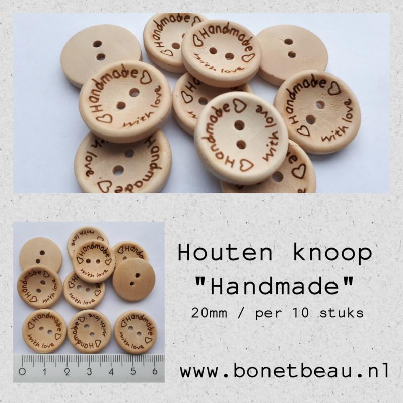 """Houten knoop """"Handmade with love"""" 20mm"""
