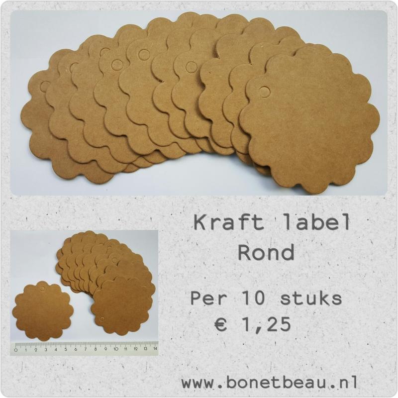 Kraft label Rond per 10 stuks
