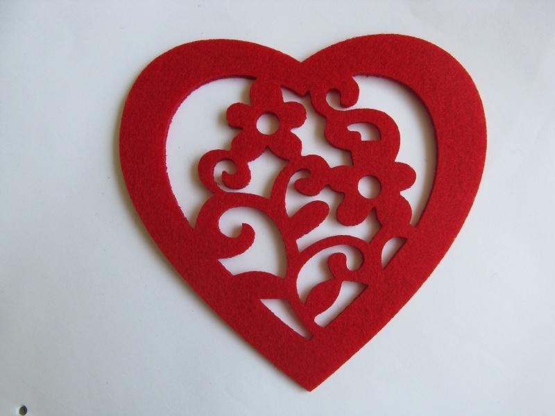 Vilten onderzetter hartje