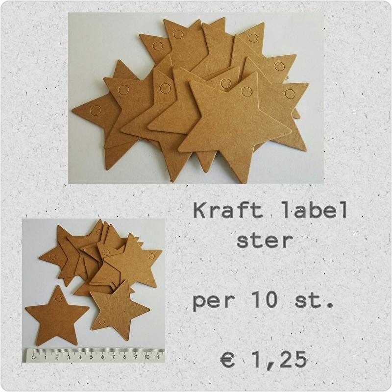 Kraft label Ster per 10 stuks