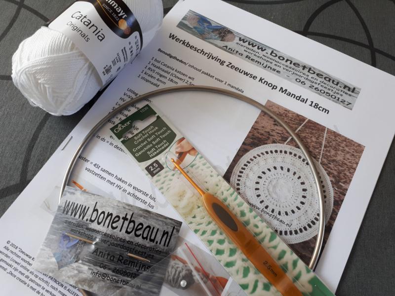 Doe-het-zelf pakket Zeeuwse Knop Mandala 18cm ZONDER HAAKNAALD