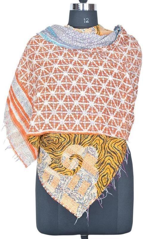 Vintage Kantha Sari Sjaal
