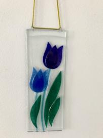 Blauwe Dubbele Tulp raam hanger