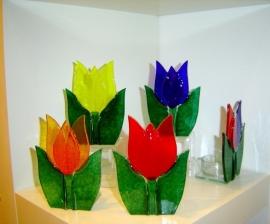 3 Tulpen met waxine lichtje
