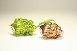 Murano druiventrosje met bladgoud 2stuks
