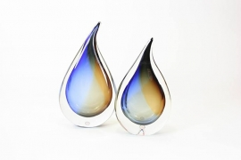 Druppel van Kristal gesigneerd Blauw met Amber