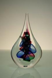 Druppel van Kristal gesigneerd blauw/roze/groen