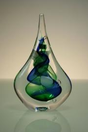 Druppel van Kristal gesigneerd Blauw groen
