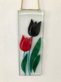 Rood Zwart Dubbele Tulp raam hanger