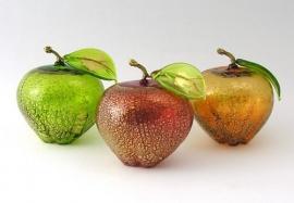Murano appel of peer  met bladgoud 2stuks