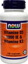 NOW Vitamine D3 1000IE & Vitamine K2 120 capsules