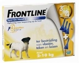 Frontline Spot on 3 plus 1 hond S 2-10kg vlo en teek