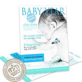Geboortekaartje LG387 Blue (Magazine Cover)