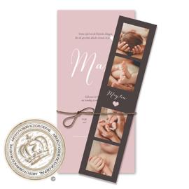 Geboortekaartje met fotostrip LG080 Pink