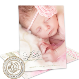 Geboortekaartje LG008 Pink  (Magazine Cover)