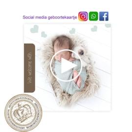 Social Media Geboortekaartje IGBL227 Blue