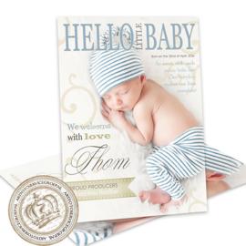 Geboortekaartje LG008 Blue (Magazine Cover)