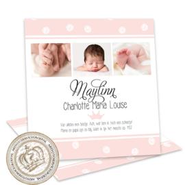 Geboortekaartje LG704 Pink