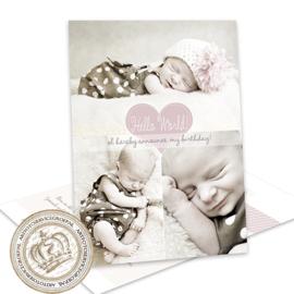 Geboortekaartje LG557 Pink