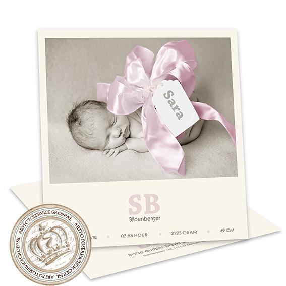 Geboortekaartje LC037 Girl (met strik)