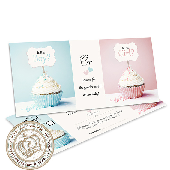 The little cupcakes - Gender Reveal Party Invites  (E)