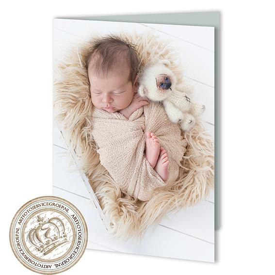 Gevouwen geboortekaartje - staand