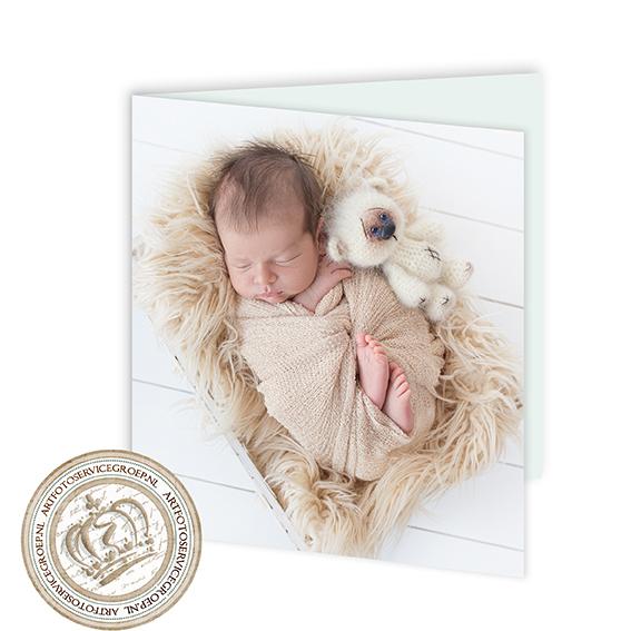 Gevouwen geboortekaartje - vierkant