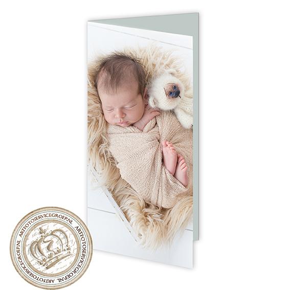 Gevouwen geboortekaartje - langwerpig staand