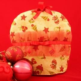 Kerst theemuts in roomwit met rode tule en rode strik