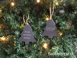 Kersthanger leisteen met naam gegraveerd! (ster of kerstboom)