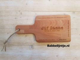 Plank voor Juf of Meester met alle namen van de kinderen in de klas