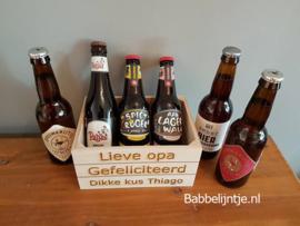 Kistje met persoonlijke gravure,  leuk om te vullen met b.v. bier of wijn!