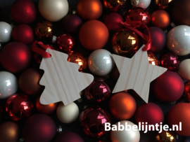 Kersthanger hout met naam gegraveerd! (ster of kerstboom)