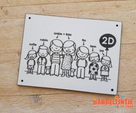 Een huisnaambordje van Lida , Ankie, hun 5 kinderen en 2 poezen