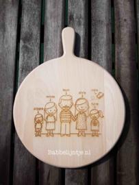Kaasplank/ snijplank Familieportret (rond)