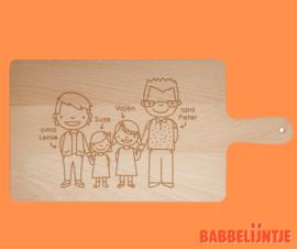 Kaasplank/ snijplank Familieportret