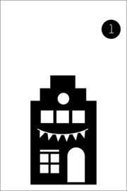 1. Raamsticker huisje met vlaggetjes