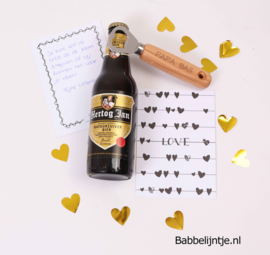 Valentijnspakketje 1: Opener met eigen tekst, fles bier + kaart