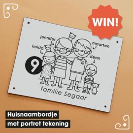 Winactie maart: Win een Huisnaambordje met jullie portret erop!