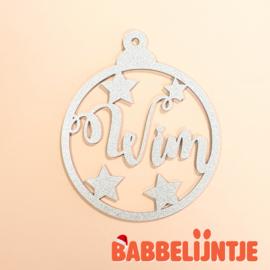 Kerstbal met naam en sterretjes(Zilver)