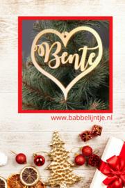 Kersthanger  met naam (kerstbal, hartje, sterretjes, ijskristal) Goudkleurig