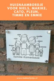 Huisnummerbordje voor de familie Kamerbeek
