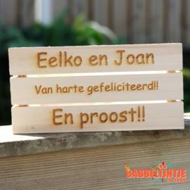 Gepersonaliseerd bierkistje voor Eelko en Joan