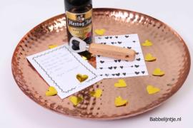 Valentijnspakket 2: Opener met eigen tekst, fles bier + kaart (Valentijnsdag)